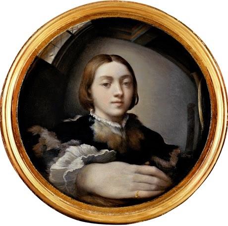 Fig. 1 Girolamo Francesco Maria Mazzola detto Parmigianino, Autoritratto entro uno specchio convesso, 1524, olio su tavola, Vienna, Kunsthistorisches Museum.