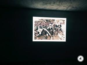 proiezione delle foto d'epoca sulle carbonaie di Calabria