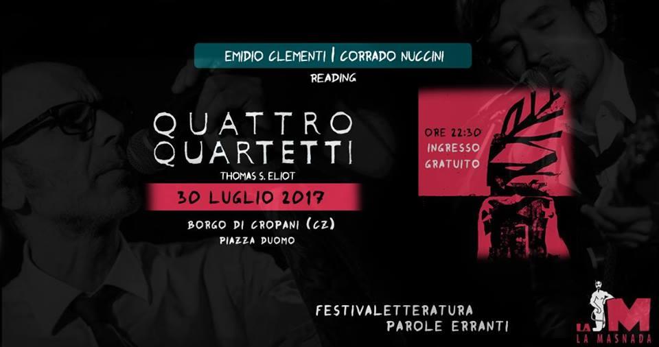"""Stasera a Cropani Emidio Clementi e Corrado Nuccini per il Festivaletteratura """"Parole Erranti"""""""