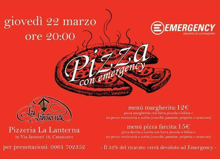 100 cene per Emergency, domani alle 20 @La Lanterna Catanzaro