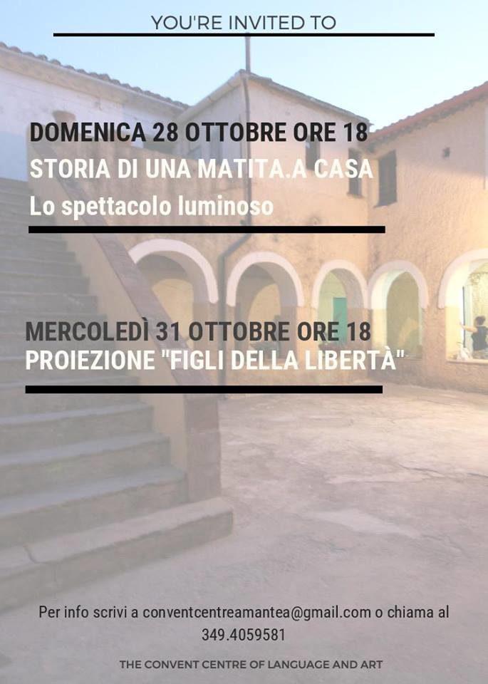"""Due giorni di eventi al The Convent Centre di Amantea con """"Storia di una matita.A casa- Lo Spettacolo luminoso"""" e la proiezione del film """"Figli della libertà"""""""